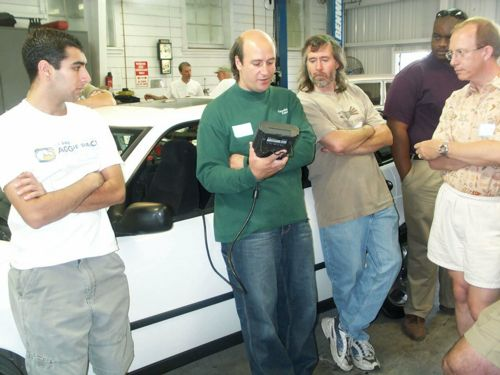 One Of The Attendee S 9 3 Was Driven Into Service Area And Don Plugged In Tech Ii Showed Us Around Saab Computer System